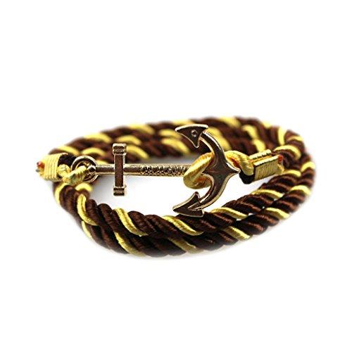 Mädchen Navigations Metall Anker Charme Armband Elegante Anmutige Braun Gelbes Seil Armreif