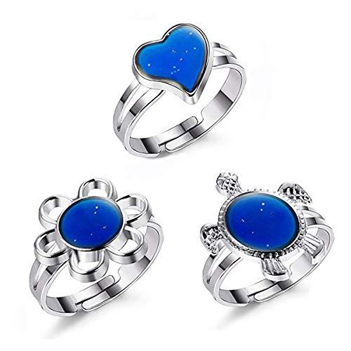Anwin Farbwechsel Ringe Verstellbare Stimmungsringe für Kinder Damen Frauen und Mädchen Einstellbar 55-70MM 3er Pack - Ringe Kinder Stimmung