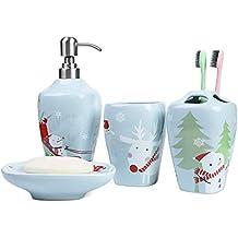 PEHOST Juego de Accesorios de baño de cerámica, jabonera, dispensador de jabón, Soporte