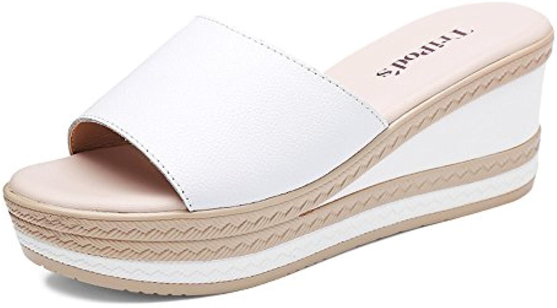 Slipper Sandalias de tacón alto de verano femenino desgaste exterior moda sandalias de fondo grueso (Color : 1... -