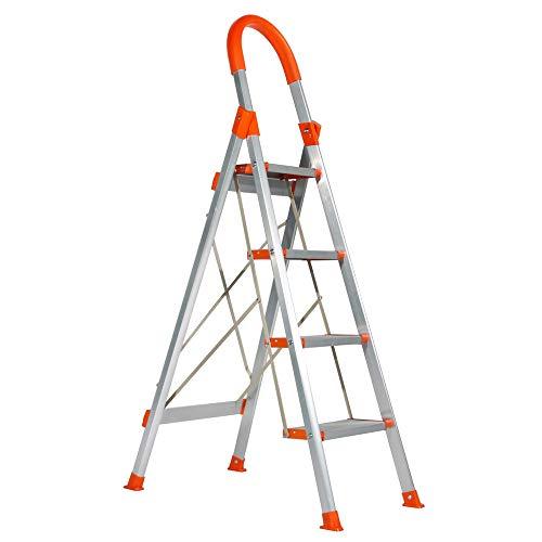 LARRY SHELL Escalera Plegable de 4 escalones Escalera de Tijera de Aluminio, Taburete con Plataforma 300 LB Capacidad de Carga Ligera Escalera múltiple, para la Oficina de Garaje en casa