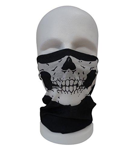 BandanaGuru Totenkopf Schädel Motorrad Maske multifunktios Schlauchtuch Sturmmaske – für Paintball/Fahrrad/Ski Snowboard/Wandern/Biking/Rave Maske (Skull Face Jaw)