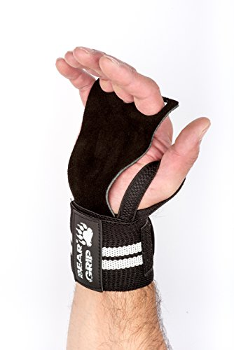 BEAR-GRIP-CROSSFIT-2-in-1-Leather-palm-gloves-protector-wrist-support-wraps-Ideal-WOD-Fitness-Weight-lifting-Powerlifting-One-Size-Fits-All-Special-DesignBLACKWHITE
