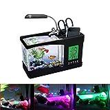 TAOtTAO Mini USB LCD Tischleuchte Fisch Aquarium Aquarium LED Uhr (Schwarz)