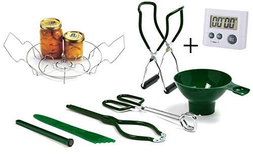 Norpro Canning Essentials Kit - Home Supplies Werkzeug-Set - großes Dosenregal + großer digitaler Küchentimer von HG