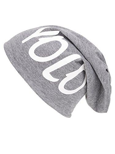 shenky - Lange Jersey-Mütze im Beanie-Stil - geeignet für Frühling/Sommer - Grau mit Schriftzug