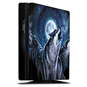 DeinDesign Skin kompatibel mit Sony Playstation 4 PS4 Slim Folie Sticker Nacht Wolf Mond