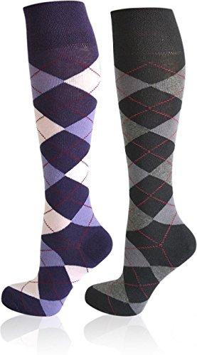 2 Paar Reitsocken mit karo Design - Kniestrümpfe mit dicker Polstersohle Farbe Farbset 2 Größe (Paar Zwei Kostüme)