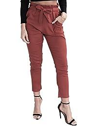 Simplee Apparel Damen Hosen Elegant High Waist Stretch Chiffon Skinny Hosen  Pants Casual Streetwear Hosen mit… 278136dd29
