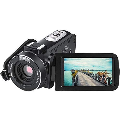 Videocámara Cámara de Video Full HD 1080P Vlogging Cámara Digital para Youtube 24.0 MP 3.0 Pulgadas IPS Pantalla Táctil Giratoria de 270 Grados Zoom Digital 16x con IR Visión Nocturna Control Remoto