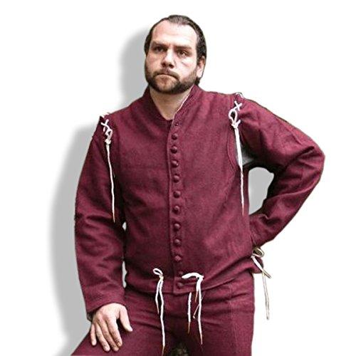 Mittelalter Wams mit angenestelten Ärmeln/Größe XXL/Farbe: kastanienrot/Mittelalter Gewandung/Get Dressed for Battle