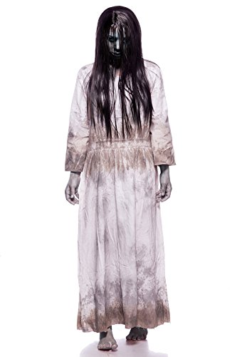 Samara Horror Film Kostüm Damen Halloween Ring TV Set Grau Kleid Perücke 34-46