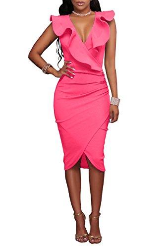 YMING Damen Bleistiftkleid Kleid Sexy Bodycon Volant Kleid V-Ausschnitt Stretchkleid Rüsche Kleid,Fuchsia,S / DE 36-38 (Crêpe-faltenrock)
