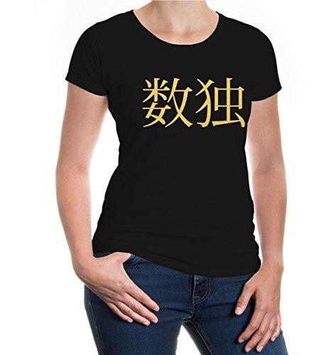 buXsbaum® Girlie T-Shirt Sudoku-Schriftzeichen Black-Gold