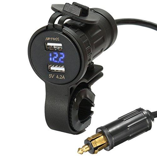 Bleu Alamor 12V-24V 4.2A Voltm/ètre Rouge Moto Double Chargeur USB Din Prise pour BMW Moto