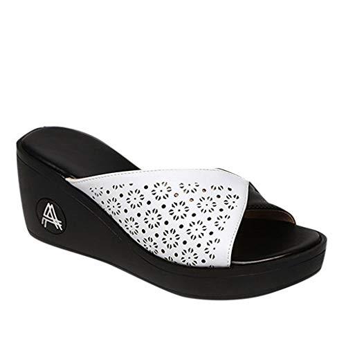 r Sandalen Bohemian Flach Sandaletten Sommer Strand Schuhe,Frauen Freizeitschuhe Plattform Keile Fischmaul Sandalen Dicker Boden Hausschuhe ()
