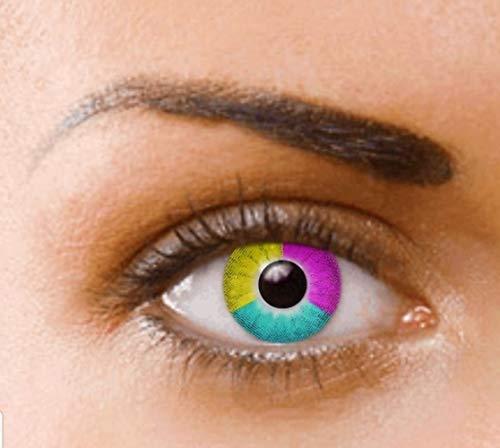 PHANTASY Eyes® Farbige Kontaktlinsen, Ohne Stärke (RAINBOW) perfekt zum Halloween, festival und Karneval, Jahres Linsen, 1 Paar crazy fun Contact linsen + Kontaktlinsenbelälter! (Halloween Kontaktlinsen Kosmetische)
