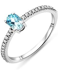 Miore Aquamarine Ring, 9ct White Gold, Diamond Setting