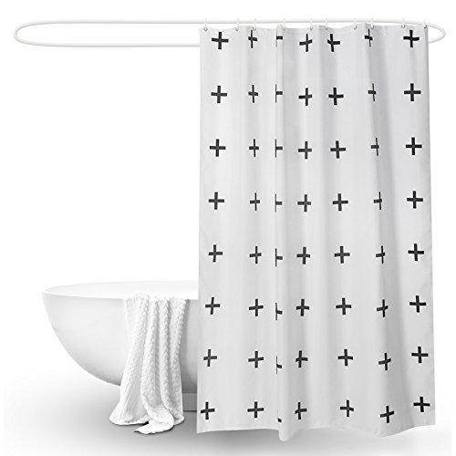 MDRW-Bad Bad Vorhang - Tür Vorhang Wasserdicht Schimmel Beweis Verdickung Schwarz - Weißen Kreuz Küche Hälfte Vorhangw240Cm * H200Cm