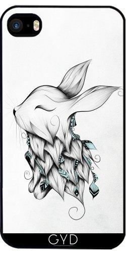 Leder Flip Case Tasche Hülle für Apple iPhone 4/4S - Poetischen Kaninchen by LouJah Starre Kunststoff