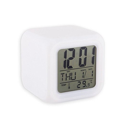 Mezzotek Glowing LED 7 Color Changing Digital Alarm Clock With Calendar & Temperature  available at amazon for Rs.249