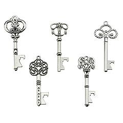 Idea Regalo - Portachiavi apribottiglie - assortiti vintage Skeleton Keys, matrimonio, feste, confezione da 25, argento)
