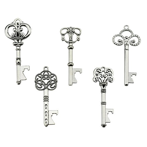 Portachiavi apribottiglie - assortiti vintage skeleton keys, matrimonio, feste, confezione da 25, argento)