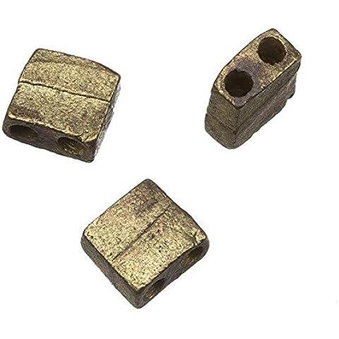 2foro quadrato in metallo anticato Perline 10mm Pk3