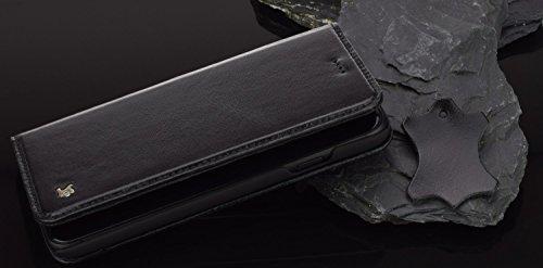 Suncase iPhone 7–Étui fabriqué à la main style livre (slim fit) en étui de protection en cuir véritable Wallet Case Étui noir