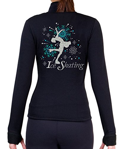 ny2 Sportswear Eiskunstlauf Polartec Polar Fleece Jacke mit Strass JS100, Mädchen Damen, schwarz -