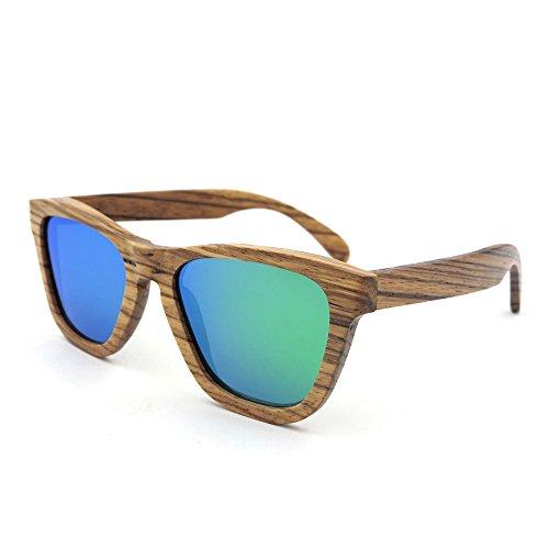 Yiph-Sunglass Sonnenbrillen Mode Vintage Simple Style Handmade Zebra Holz umrandeten Sonnenbrille Farbige Linse UV400 Schutz für Männer Frauen (Farbe : Grün)