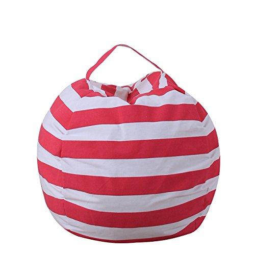 THEE Spielzeug Aufbewharungstasche Streife Sitzsack Aufbewahrung Beutel Lagerung,18 inch,Rose