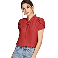 Romwe Women's Casual Short Sleeve Bow Tie Blouse Top Shirts Burgundy XL