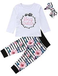 Baby Mädchen Kleine Schwester und Große Schwester Blume Gedruckt Strampler T Shirts Lange Legging Hosen 3tlg Kleidung Outfits