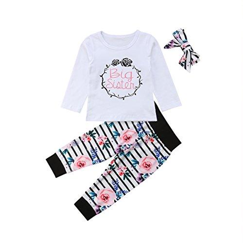 Baby Mädchen Kleine Schwester und Große Schwester Blume Gedruckt Strampler T Shirts Lange Legging Hosen 3tlg Kleidung Outfits (120/4-5Jahre alt, 2 Big Sister) - Großes Mädchen Kleidung