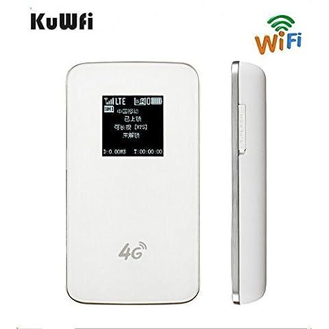 KuWFi mini - 4g lte router wireless aperta 100mbps wifi hotspot mobili 3g, 4g router wifi con sim slot supporto lte / wcdma hspa / gsm per aria (sim non compresi, devono acquistare in locale)