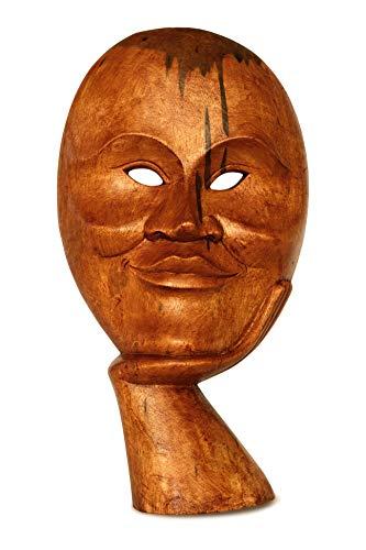 G6 Collection Handgeschnitztes lächelndes Gesicht, abstrakte Maske, Heimdekoration, Akzent-Ständer, einzigartig, Skulptur, Dekoration, handgefertigt, dekorativ, lächelnder Mann
