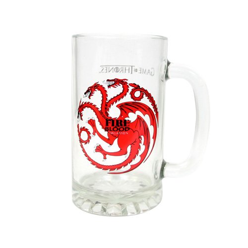 "Juego de Tronos SDTSDT27344 - Jarra para cerveza de cristal, diseño Targaryen""Fire And Blood"" (SD Toys SDTSDT27344) - Jarra Fire and Blood Targaryen"