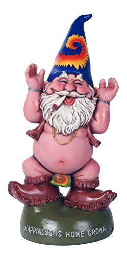 freigeistigen Topf Rauchen Happiness is home Grown Garden Gnome Statue 10 Uhr