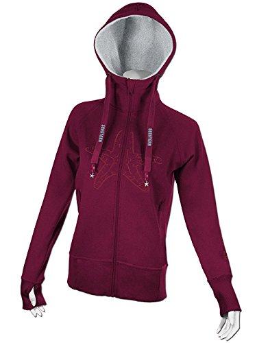 SEESTERN Damen Kapuzen Sweat Shirt Jacke Pullover Zip Hoody Sweater Gr.S-2XL /FBA_1520.bx_gy Bordeaux Rot
