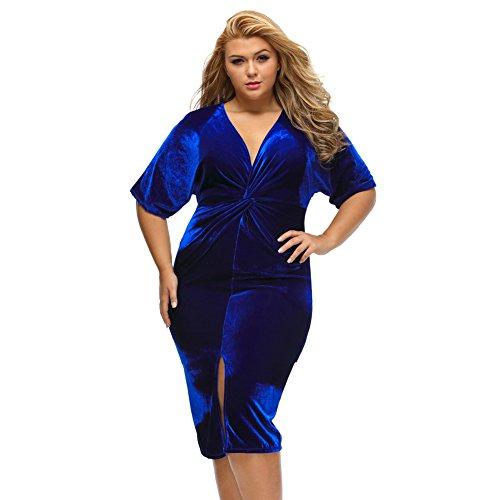 Yueyuefa Grey Kimono manches nouées plissé devant robe de taille plus Blue