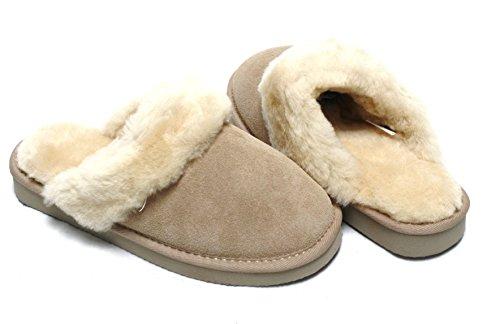 Lammfell Hausschuhe Slipper Damen Lammfell Pantoffeln Huettenschuhe sand beige mit beigen Fell mit fester Sohle - sehr warm Gr. 41