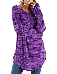 Mujer Blusa Camiseta Tops Manga Larga Traje de Otoño,Sonnena Blusa de Manga Larga Redonda de Color sólido para Mujer Pullover Tops Shirt Casual y Suave por Otoño
