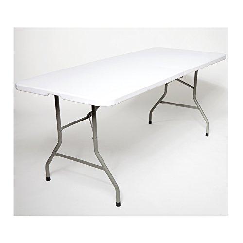 Buffettisch Kombi mit Tisch und Bank Bierbank Klapptisch Esstisch Camping-Set 180cm (1x Tisch, Weiß) (Esszimmer Kunststoff Beistelltisch)