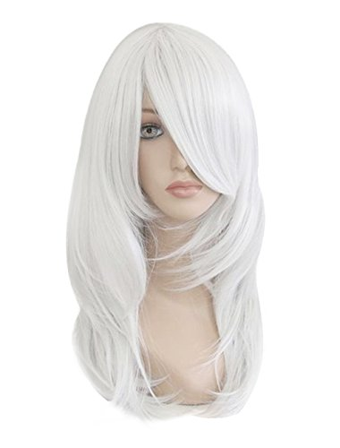 Beauty Smooth Hair Sexy Frauen Schulterlange Weiss Lockig Wellig Voll Peruecken Party Haar Cosplay Peruecke NW03-2 (Weiße Perücken)