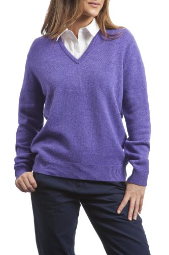Great & British Knitwear Ladies' 100% Lambswool Plain V Neck Jumper. Made in Scotland