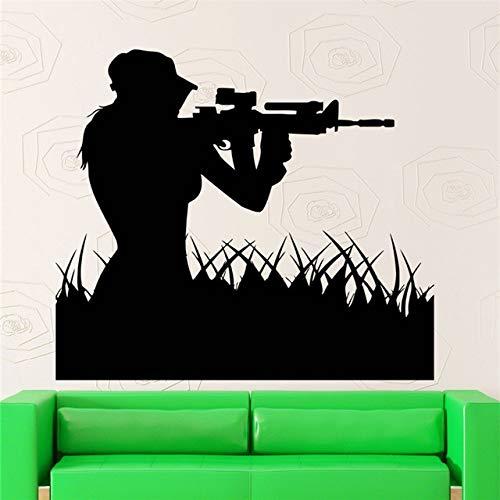Air Force Frau Sniper Soldat Wandaufkleber Kunst Design Home Decor Kreative Wandbild Mädchen Sniper Aufkleber 66X58 CM