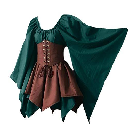 Mittelalterliche Kleider Frauen Langarm Korsett Vintage Kleid Halloween Cosplay Kostüme Gothic Retro Kleider für Cosplay Party Groß Größe 36-50 Gr. 5X-Large, Green Khaki