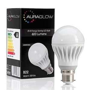 AURAGLOW 8w LED B22 Bayonet Light Bulb, Warm White, 60w Equivalent - DIMMABLE