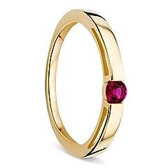 Idea Regalo - Orovi Anello Donna Solitario in Oro Giallo e Rubino Ct 0.15 Oro 9 Kt / 375